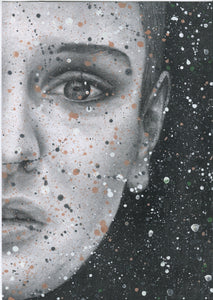 "Sinead O'Connor ""Nothing compares 2 U"" Splattered Paint Version 1 charcoal portrait drawing fine art wall decor"