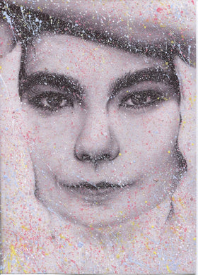 Bjork splattered paint version 1  charcoal pencil drawing portrait print fan art print wall decor