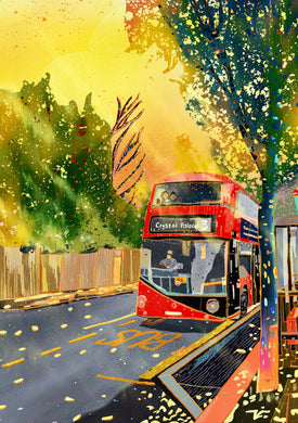London Routemaster Number 3 bus to Crystal Palace South London local art illustration poster print wall decor