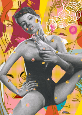 Kate Moss pop art version of foot smoking black and white charcoal portrait drawing erotic sexy art poster print wall decor