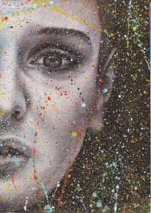 "Sinead O'Connor ""Nothing compares 2 U"" Splattered Paint Version 2 charcoal portrait drawing fine art wall decor"