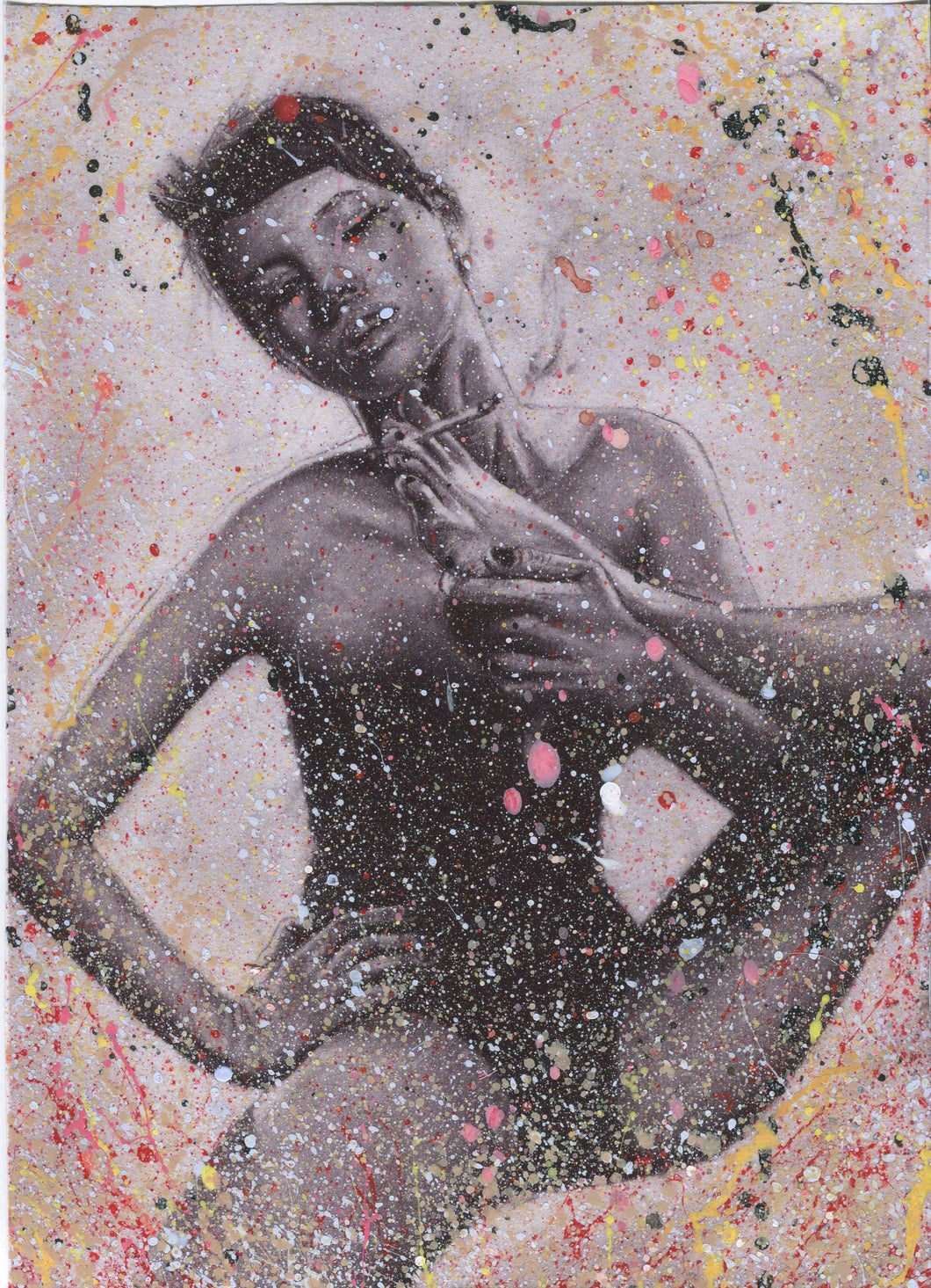 Kate Moss splattered paint version of foot smoking black and white charcoal portrait drawing erotic sexy art poster print wall decor