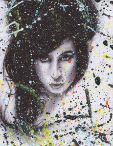 "Amy Winehouse ""I told you I was trouble"" splattered paint version of black and white charcoal portrait drawing fan tribute fine art print"