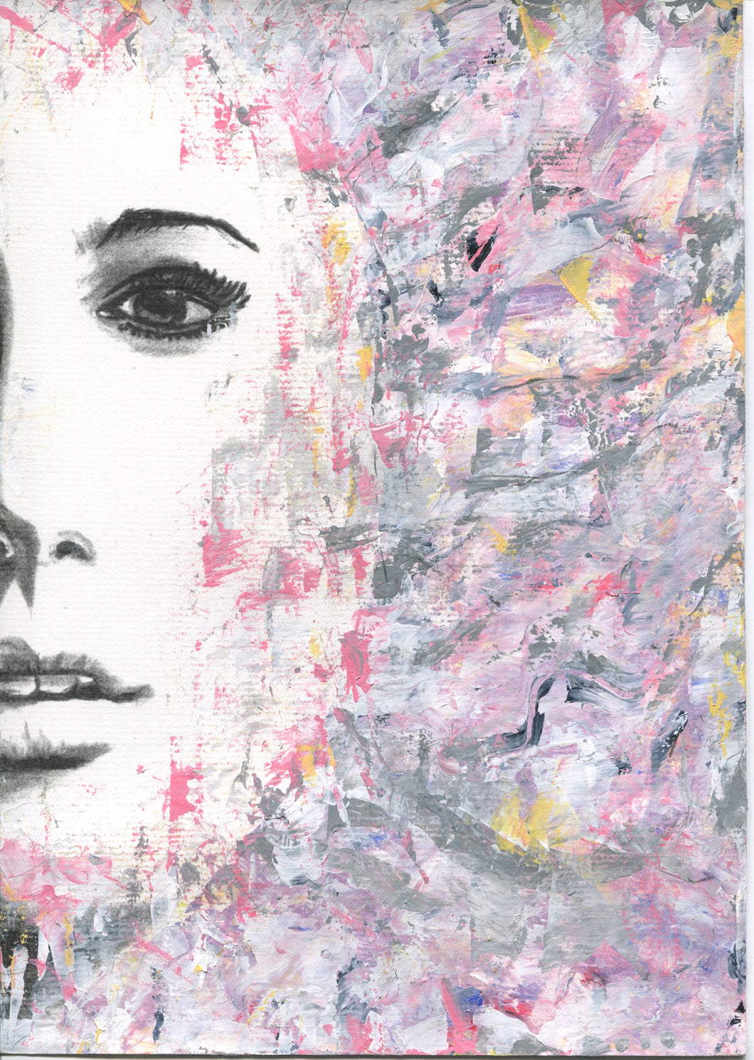 Woman half face pink and grey acrylic abstract version from black and white charcoal portrait drawing fine art poster print