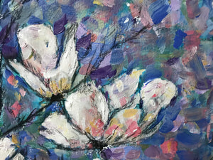 Magnolias flower acrylic painting series white blue and pink colourful abstract art painting poster print wall pattern decor