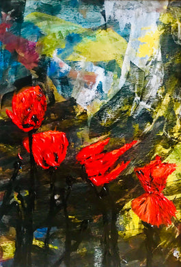 Poppy Storm flower acrylic painting series black red and yellow colourful abstract art painting poster print wall pattern decor