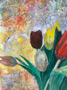Tulips colourful flower acrylic painting series colourful abstract art poster print wall pattern decor