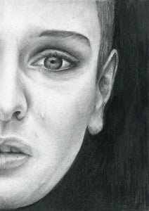 "Sinead O'Connor ""Nothing compares to you"" tear black and white charcoal portrait drawing fine art print poster wall decor"