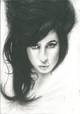 Amy Winehouse I told you I was trouble black and white charcoal portrait drawing fan tribute fine art wall decor print