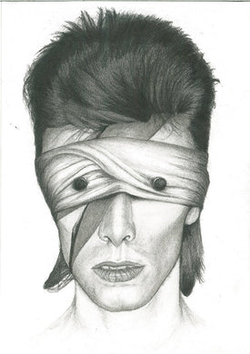 David Bowie - Aladdin sane as lazarus blackstar charcoal portrait drawing fan tribute fine art wall decor