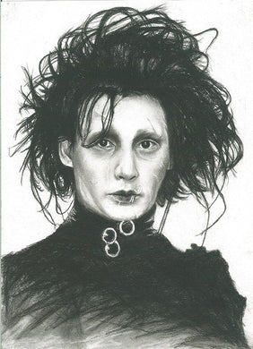 Edward Scissorhands - Johnny Depp character charcoal portrait pencil drawing Fine Art Print poster wall decor
