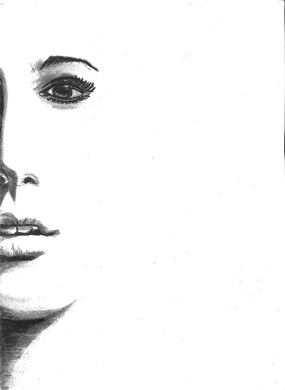 woman half face charcoal pencil portriat drawing print poster fine art wall decor