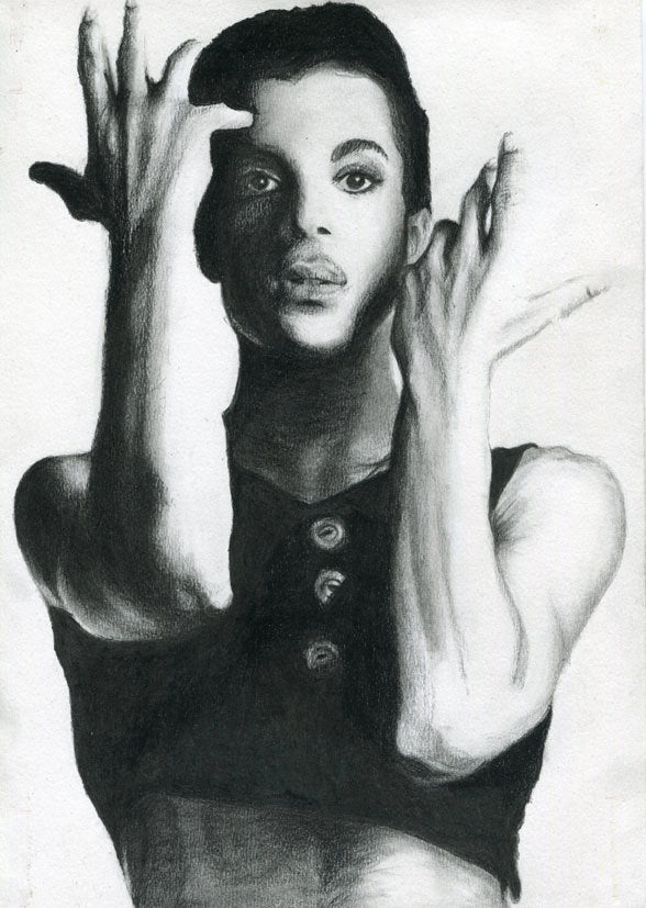 Prince Parade charcoal portrait drawing print tribute fan art fine art wall decor