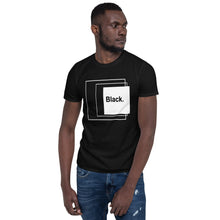 Load image into Gallery viewer, Black with white square Short-Sleeve Unisex T-Shirt