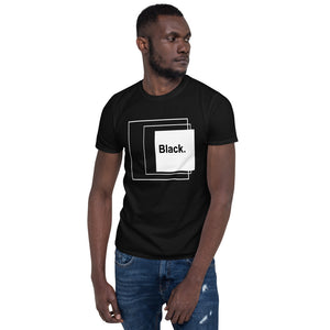 Black with white square Short-Sleeve Unisex T-Shirt