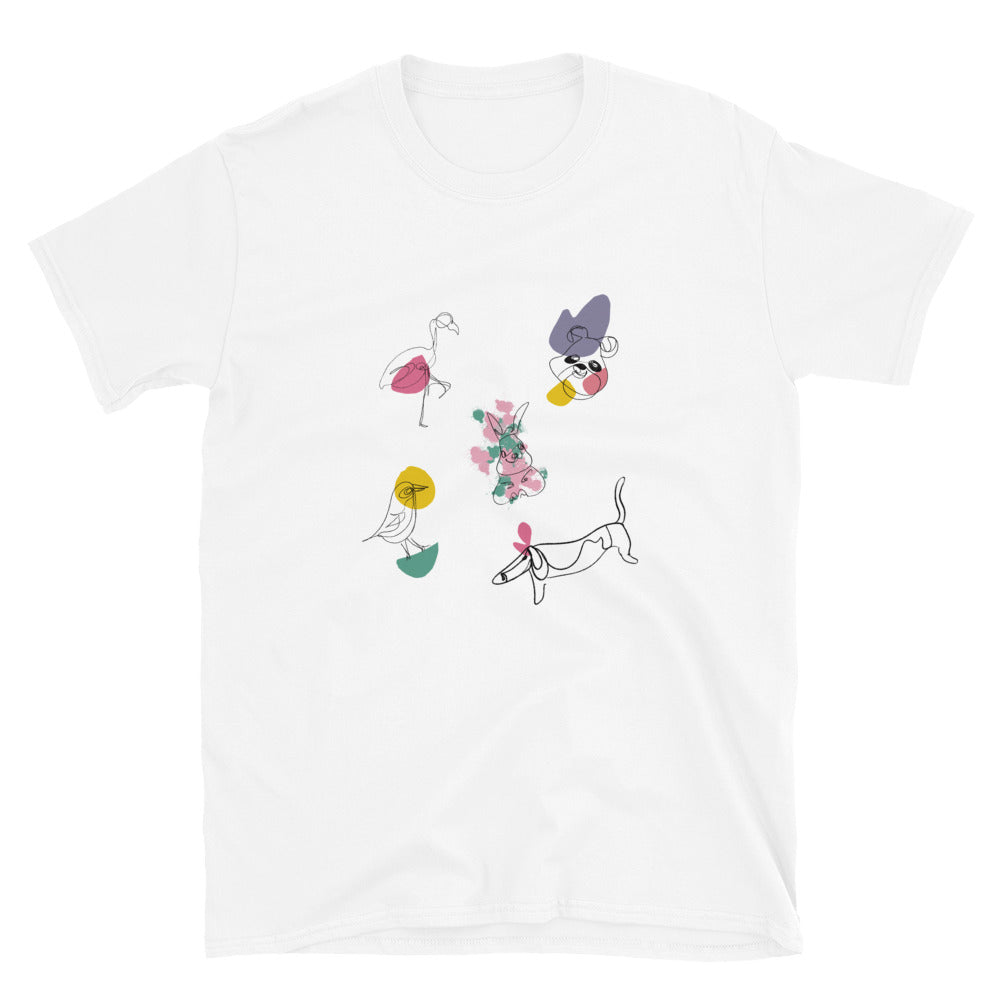 Cute Animals Line Drawing Short-Sleeve Unisex T-Shirt