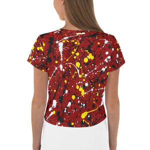 Abstract Red All-Over Print Crop Tee