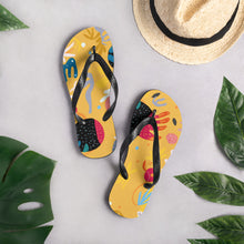 Load image into Gallery viewer, Yellow abstract Flip-Flops