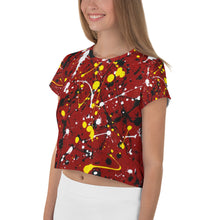Load image into Gallery viewer, Abstract Red All-Over Print Crop Tee
