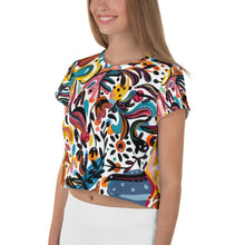 Load image into Gallery viewer, Summer Fruit White All-Over Print Crop Tee