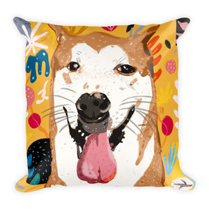 "Yellow ""bb"" dog double-sided cushion"