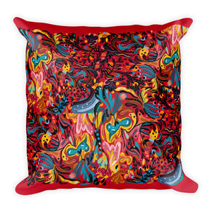 Summer Fruit Patterned Red Double-sided Cushion
