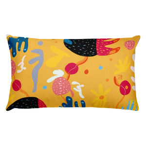 Abstract Yellow double-sided cushion