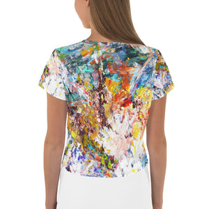 Abstract Flowers All-Over Print Crop Tee