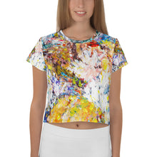 Load image into Gallery viewer, Abstract Flowers All-Over Print Crop Tee