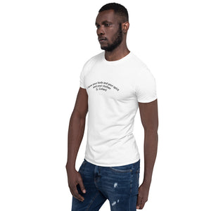 "Curved Quote series: LEONARD COHEN ""I like your body and your spirit and your clothes"" Short-Sleeve Unisex T-Shirt"