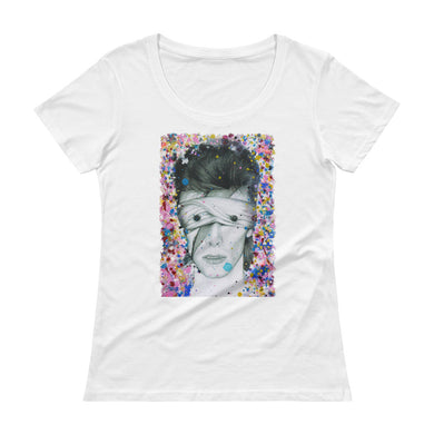 DAVID BOWIE Aladdin Sane Abstract Colours Ladies' Scoopneck T-Shirt