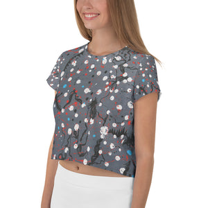 Abstract Grey All-Over Print Crop Tee