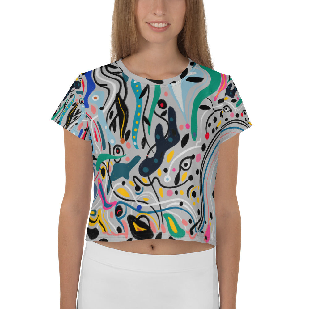 Flood of Love All-Over Print Crop Tee