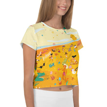Load image into Gallery viewer, Summer Fun Beach All-Over Print Crop Tee