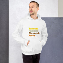 Load image into Gallery viewer, Bananas & Porridge & Cinnamon & Honey Colourful font Unisex Hoodie