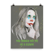 "Load image into Gallery viewer, Billie Eillish ""You should see me as a clown"" charcoal pencil and digital drawing Poster"