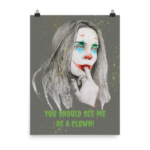 "Billie Eillish ""You should see me as a clown"" charcoal pencil and digital drawing Poster"