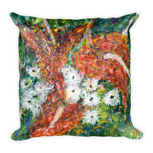 "Flower series double-sided ""Green Leaves"" cushion"