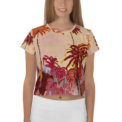 Palm Trees All-Over Print Crop Tee