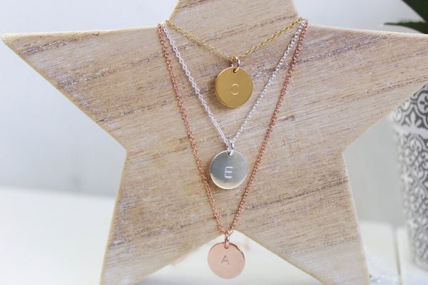 Large Initial Disc Necklace - Silver