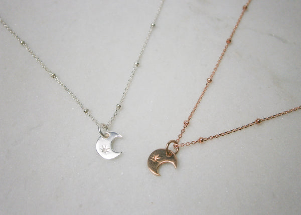 Moon Satellite Necklace - Rose Gold