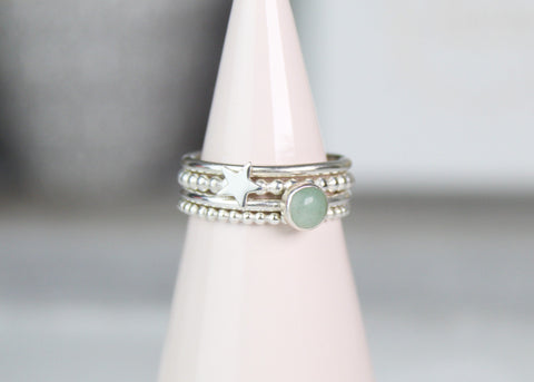Star & Aventurine Stacking Ring Set