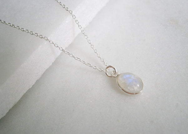 Rainbow Moonstone Necklace - Silver