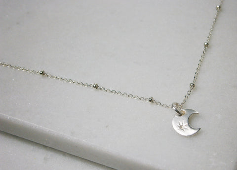 Moon Satellite Necklace - Silver