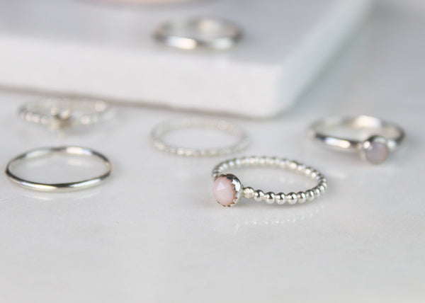 Pink Opal Stacking Ring Set