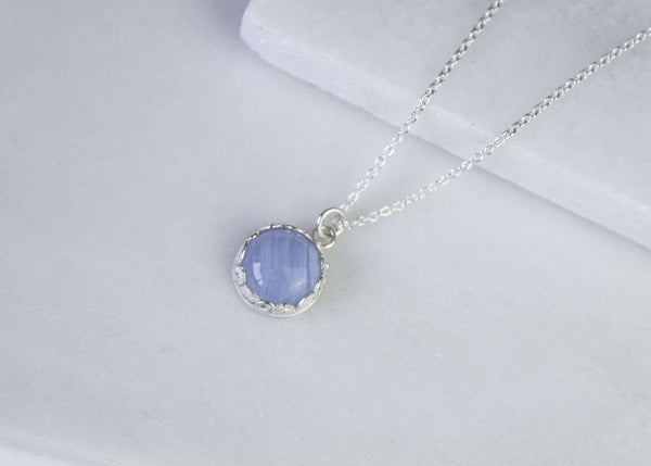 Floral Blue Lace Agate Gemstone Necklace