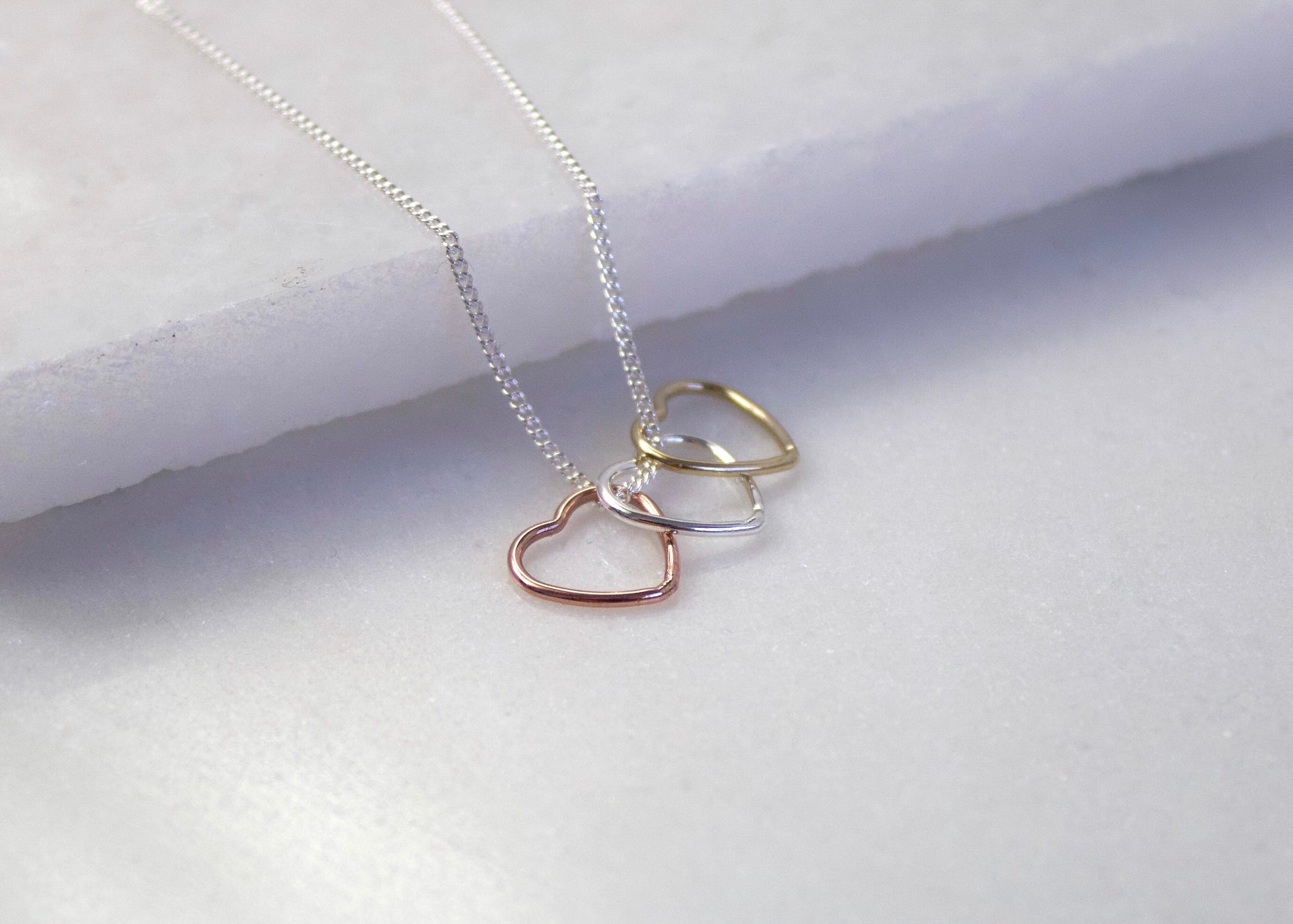 Triple Floating Heart Necklace