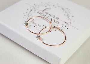 Star Hoop Earrings - Rose Gold