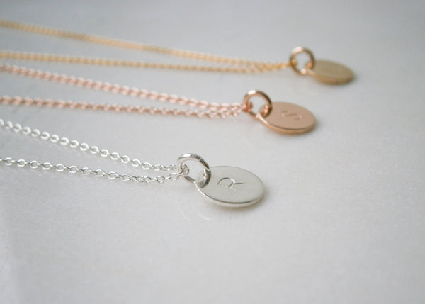 Mini Initial Disc Necklace - Silver
