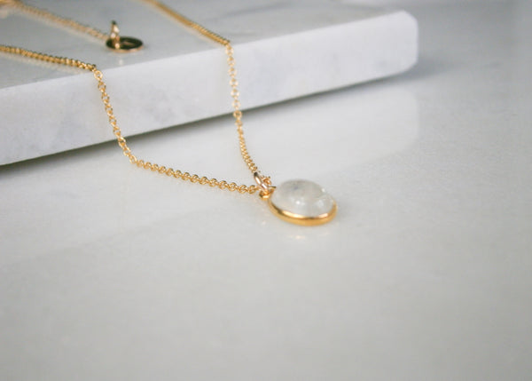 Rainbow Moonstone Necklace - Gold